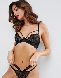 Asos Malin Lace Strappy Underwire Bra Black