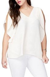 Rachel Roy Plus Size Women's Flutter Drape Top Natural