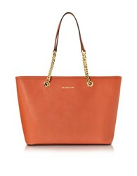 Michael Kors Saffiano Leather Jet Set Travel Chain T Zip Multifunction Tote Orange