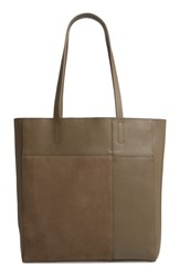 Treasure And Bond Andi Leather Suede Tote Green Olive Grove