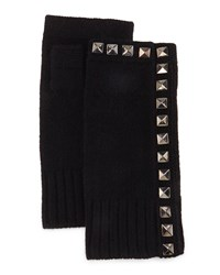 Neiman Marcus Cashmere Studded Fingerless Gloves Black