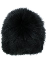 Yves Salomon Fox Fur Beanie Black