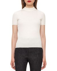Akris Cable Knit Mock Neck Sweater Moonstone