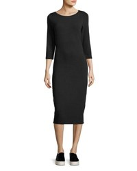 Majestic Paris For Neiman Marcus 3 4 Sleeve Slim French Terry Dress Black