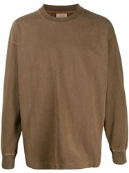 Christophe Lemaire Distressed Oversize Sweatshirt Brown