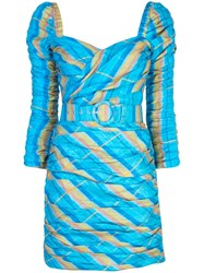 Nicholas Belted Fitted Dress Blue