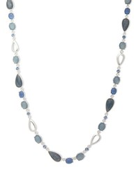 Anne Klein Mother Of Pearl And Epoxy Necklace Silver