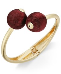 Inc International Concepts Gold Tone Thread Wrapped Ball Bypass Bracelet Only At Macy's Burgundy