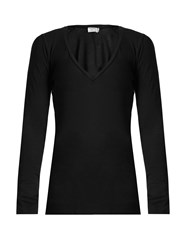 Frame Cotton Jersey Long Sleeved T Shirt Black
