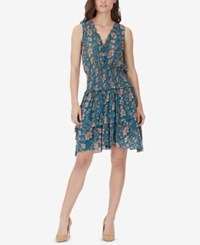 William Rast Clarissa Printed Tiered Lace Up Dress Tapestry Tapestry Floral