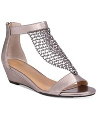 Thalia Sodi Tibby Mesh Embellished Wedge Sandals Only At Macy's Women's Shoes Pewter