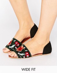 Asos Joss Wide Fit Embroidered Mules Black