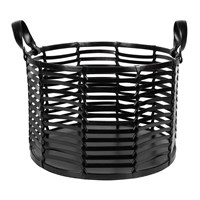 Amara Slotted Leather Basket Black