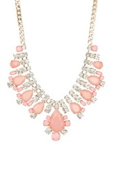Natasha Accessories Crystal Teardrop Statement Necklace Pink