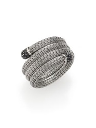 John Hardy Classic Chain Black Sapphire And Sterling Silver Multi Row Coil Ring