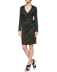 Diane Von Furstenberg Savanna Leopard Print Wrap Dress Medium Green