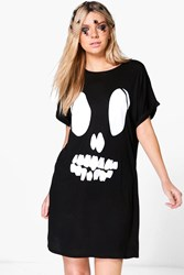 Boohoo Halloween Skull Feature T Shirt Dress Black