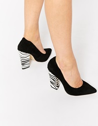 Ravel Block Heel Point Leather Heeled Shoes Black