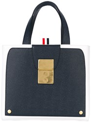 Thom Browne Bicolour Tote Women Leather One Size Blue