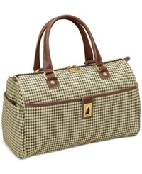 London Fog Oxford Hyperlight 16 Classic Satchel Only At Macy's Olive Houndstooth