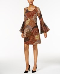 Msk Printed Bell Sleeve Dress Brown Orange