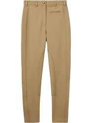 Burberry Lambskin Panel Stretch Crepe Jersey Trousers Brown