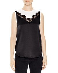Sandro Sei Silk Front Sleeveless Top Black