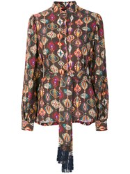 Michel Klein Bubbles Blouse Silk Brown