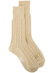 Unused Cable Knit Socks Men Cotton One Size Nude Neutrals
