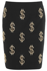 Moschino Dollar Sign Chain Embellished Crepe Skirt