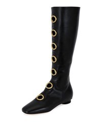 Valentino Grommet Studded Leather Tall Boot Black