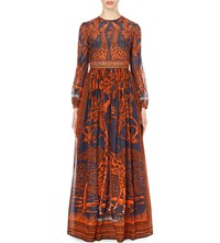 Valentino Giraffe Print Pure Cotton Gown Blue Orange