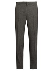 Lanvin Slim Fit Wool And Silk Blend Trousers Dark Grey