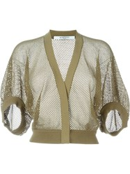 Givenchy Cropped Fishnet Cardigan Green