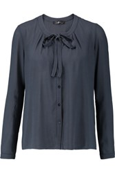 7 For All Mankind Bow Embellished Crepe Blouse Midnight Blue