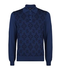 Billionaire Printed Polo Sweater Male Blue