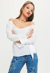 Missguided White Satin Bardot Frill Sleeve Blouse