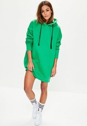 Missguided Green Eyelet Fleeceback Hooded Sweater Dress
