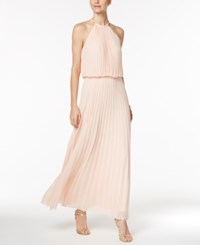 Msk Pleated Necklace Halter Maxi Gown Pink