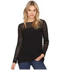 Kensie Smooth Stretch Crepe Top With Lace Detail Ksnk4240 Black Women's Clothing