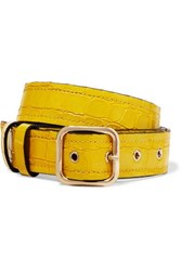 Dries Van Noten Croc Effect Leather Belt Yellow