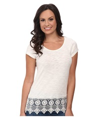 Ariat Belmont Lace Top Whisper White Women's Short Sleeve Pullover