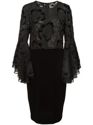 Badgley Mischka Lace Ruffle Sleeve Cocktail Dress Black