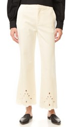 See By Chloe Eyelet Flare Jeans Natural White