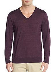 Saks Fifth Avenue Merino Wool Blend V Neck Sweater Burgundy