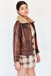 Silence And Noise Smith Worn Leather Aviator Jacket Brown