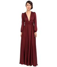 Jill Stuart Matte Charmuese Gown With Long Sleeves And Deep V Oxblood Women's Dress Red