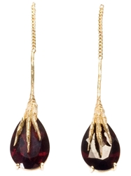 Wouters And Hendrix Gold 'Crow's Claws' Garnet Earrings Metallic