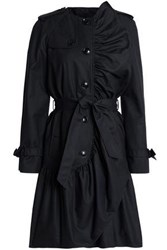 Boutique Moschino Ruffled Cotton Blend Trench Coat Black