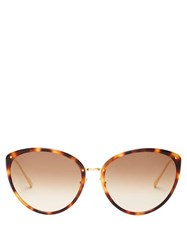 Linda Farrow Angelica Cat Eye Acetate And Metal Sunglasses Tortoiseshell